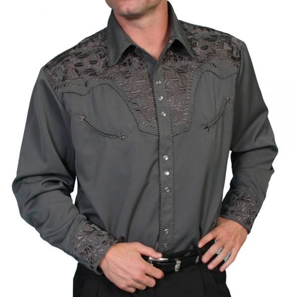 Men's Scully Western Shirt - Charcoal