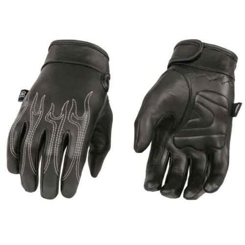 Milwaukee Men's Motorcycle Riding Butter Soft Gloves W/Flame Embroidered Black