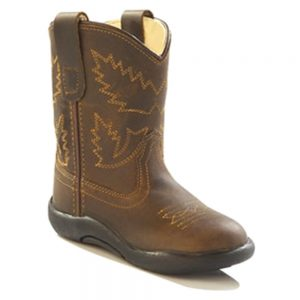 Old West Infants Western Cowboy Boots - Distressed Brown