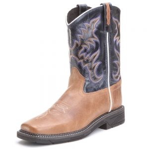 Old West Kids Western Square Toe Cowboy Boots Tan & Blue