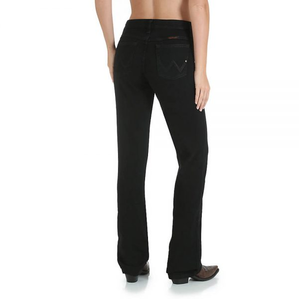 Wrangler Ladies Q-Baby Ultimate Riding Jean - Mid Rise Stretch - Black Magic Colour
