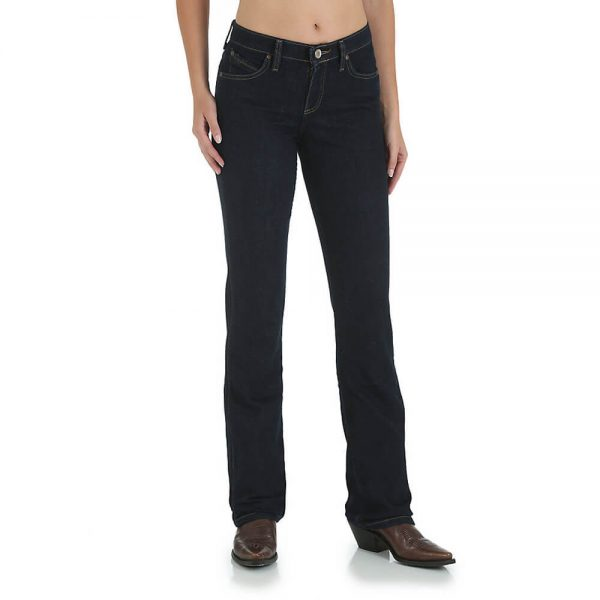Wrangler Ladies Q-Baby Ultimate Riding Jean - Mid Rise Stretch - Dark Dynasty Colour