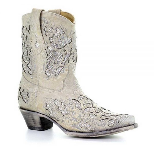 Corral West Women's Glitter Inlay & Crystals Ankle Boots