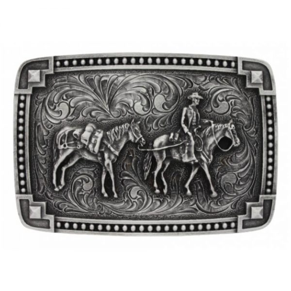 Montana Silversmith Classic Antiqued Tied at the Corners Attitude Buckle with Pack Horse