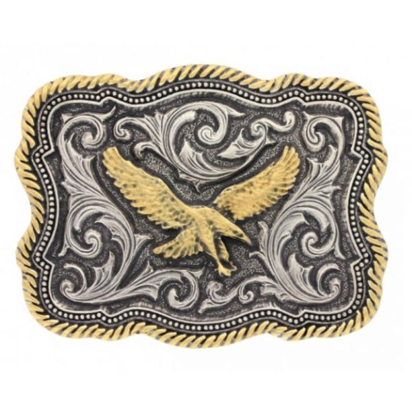 Montana Silversmith Classic Impressions Two Tone Twisted Rope and Pinpoints Attitude Buckle with Soaring Eagle