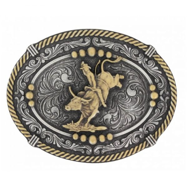 Montana Silversmith Classic Impressions Two Tone Beaded Cameo Attitude Buckle with Bull Rider