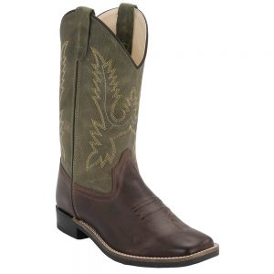 Old West Youth Western Cowboy Boots - Hunter Chocolate