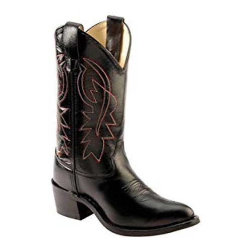 Jama Old West Youth Black & Red Stitching Western Cowboy Boot