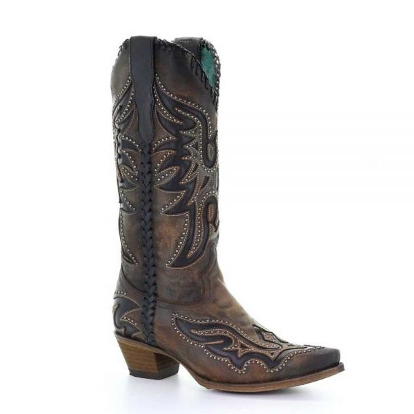 Corral West Ladies Brown & Black Inlay, Studs & Woven Boots