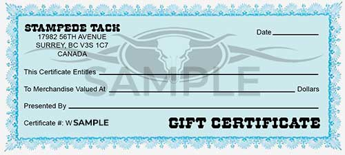 Stampede Tack Gift Certificate
