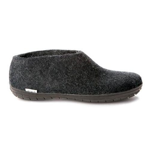 Glerups Shoe with Black Rubber Sole in Black