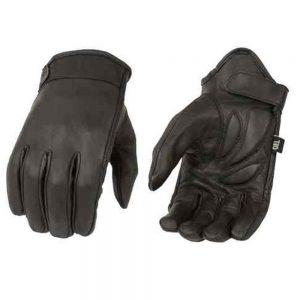 Milwaukee Leather Men's Premium Leather Short Cruiser Gloves - Black