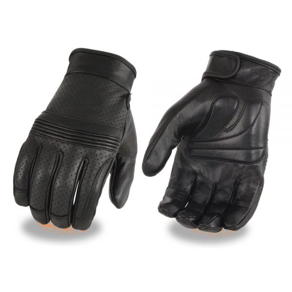 Milwaukee Leather Men's Premium Leather Perforated Glove w/ Flex Knuckles – Touch Screen Fingers