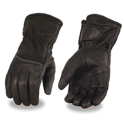 Milwaukee Leather Men's Waterproof Gauntlet Glove w/ Flex Knuckle & Reflective Trim – Touch Screen Fingers