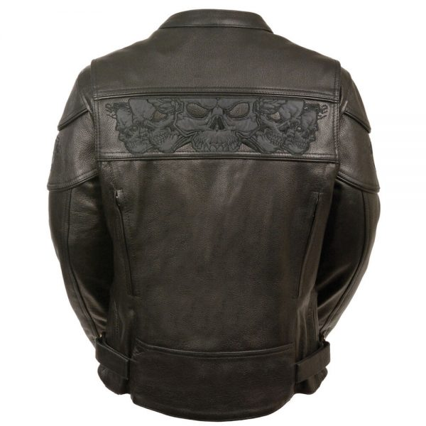 Milwaukee Leather Women's Crossover Scooter Jacket w/ Reflective Skulls