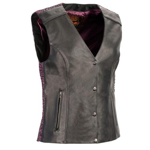 Milwaukee Leather Women's Snap Front Vest w/ Phoenix Studding & Embroidery Purple