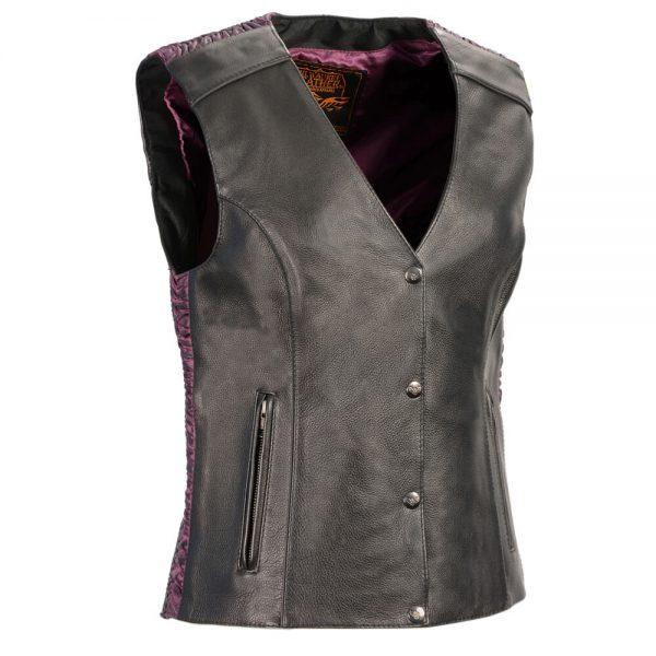 Milwaukee Leather Women's Snap Front Vest w/ Phoenix Studding & Embroidery Purple