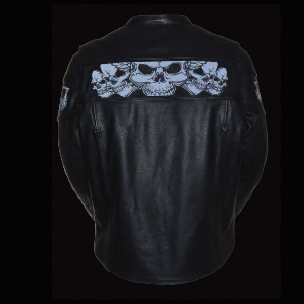 Milwaukee Leather Men's Crossover Scooter Jacket with Reflective Skulls