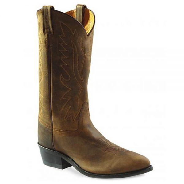 Old West Mens Western Cowboy Boots - Tan Distressed